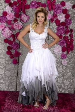 Lace bodice with grey ombre handkerchief skirt
