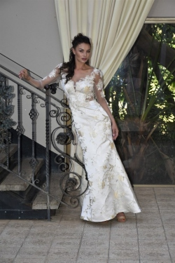 26-new-romantics-bridal-gold-cream-brocade-A-line-long-lace-sleeve-wedding-dress_