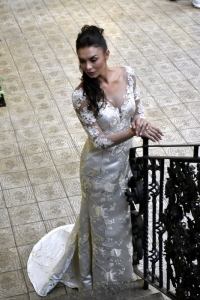 20-new-romantics-bridal-Gold-cream-brocade-fitted-wedding-dress-with-lace-detail