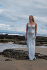 39-new-romantics-bridal-beach-wedding-dress-Silver-sequin-dress-with-side-slits