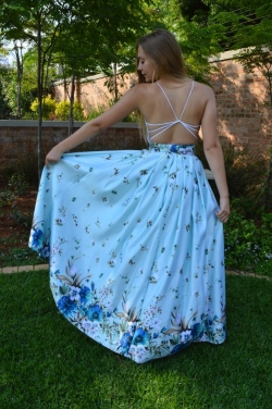 full floral satin skirt