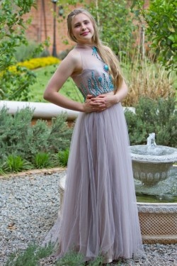full mesh skirt with turquise beaded bodice