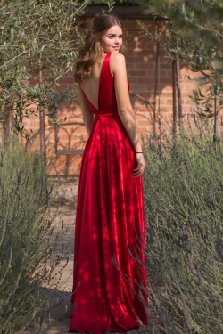 low back red satin dress