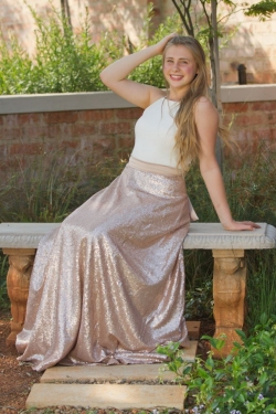 matt rose gold sequin skirt with cream top