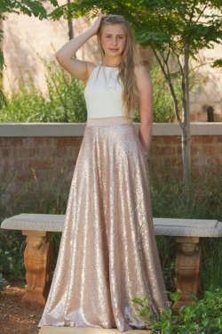 matt rose gold sequin skirt with high neck cream top