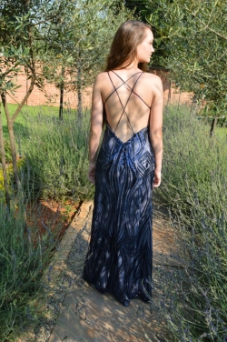 navy sequin dress with low back