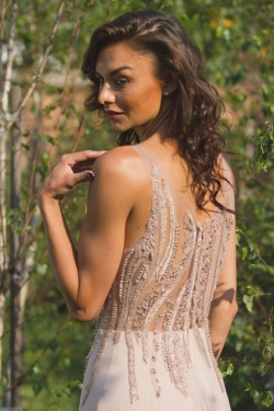 nude colour beaded bodice