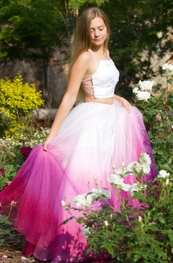 ombre pink tulle skirt with pleated white bodice