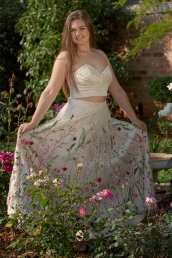 pleated cream satin bodice with floral skirt