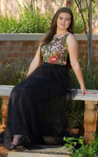 13 floral embroidered bodice with black mesh skirt