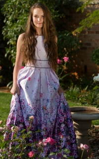 16 floral ombre satin dress