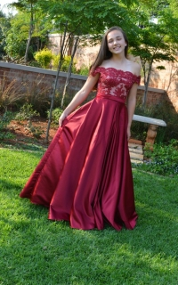 65 full burgundy satin skirt with of shoulder lace top