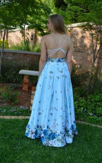 66 full floral satin skirt with open back top.