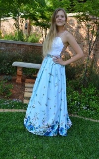 69 full satin skirt with white pleated satin top.