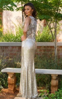 23 gold sequin dress with back lace detail
