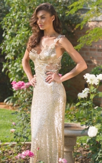 24 gold sequin dress with lace detail