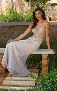 28 line beaded bodice with nude skirt