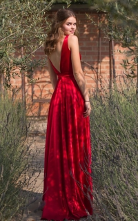 30 low back red satin dress