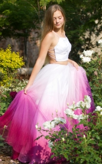 37 ombre pink tulle skirt with pleated white bodice