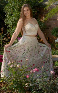 42 pleated cream satin bodice with floral skirt