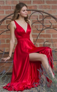 44 red satin dress with front slit