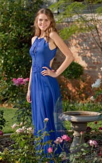 46 royal blue fitted dress with lace detail