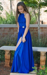 48 royal blue high neck bodice with satin and chiffon skirt