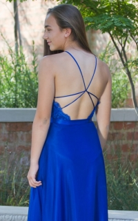 49 royal blue satin and chiffon dress with open back