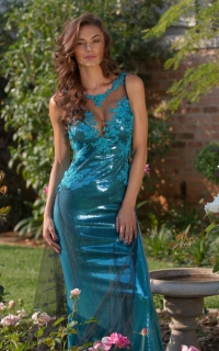 51 sequin dress with teal lace detail