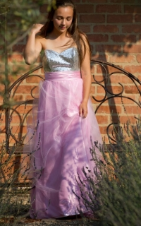 52 soft pink mesh skirt with silver sequin bodice
