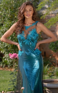 54 teal sequin fitted dress with lace detail