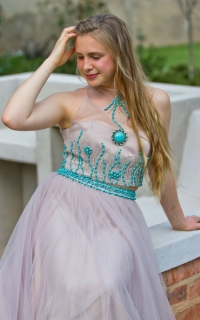 55 turquoise beaded bodice with mesh skirt