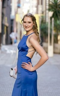 new romantics Kara van Helpmekaar in her Royal blue fitted dress with slit and back detail006