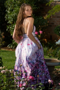 floral full satin skirt with low back
