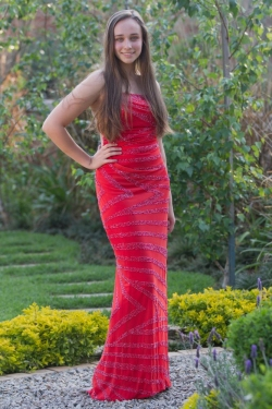 red beaded fitted dress