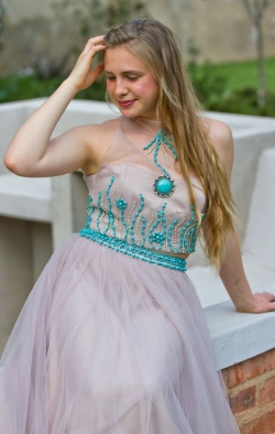 turquise beaded bodice with mesh skirt