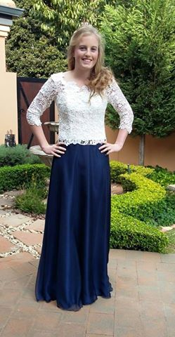 Tammy stunning cream guipure lace and navy chiffon dress by New Romantics Bridal Couture 1