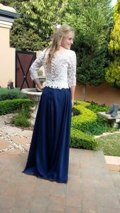 Tammy stunning cream guipure lace and navy chiffon dress by New Romantics Bridal Couture 3