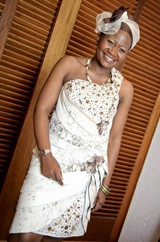 Traditional African leather wedding dress by New Romantics Bridal Couture 1