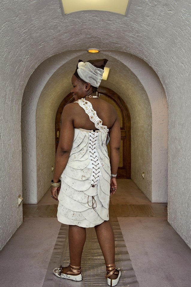 Traditional African leather wedding dress by New Romantics Bridal Couture 2