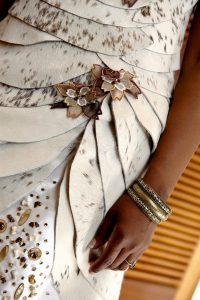 Traditional African leather wedding dress by New Romantics Bridal Couture 3