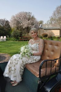 Lynn in her stunning cream and gold dress made by New Romantics 3