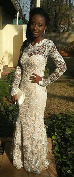 Ndivhuwo in her beautiful guipure lace matric dance dress 1