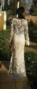 Ndivhuwo in her beautiful guipure lace matric dance dress 2