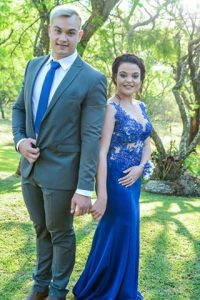 Renate Venter royal blue beaded lace matric dance dress made by New Romantics 1