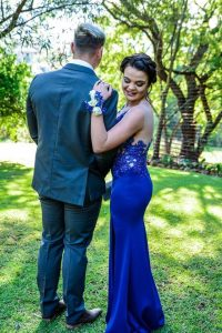 Renate Venter royal blue beaded lace matric dance dress made by New Romantics 5