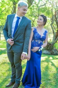 Renate Venter royal blue beaded lace matric dance dress made by New Romantics 6