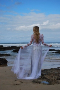 37-new-romantics-bridal-beach-wedding-dress-Lace-back-detail-over-sequin-dress-long-lace-sleeves