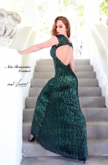102-new-romantics-matric-dance-dress-hire-Bottle-green-sequin-dress-with-key-hole-back-dress
