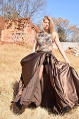 43-New-Romantics-bridal.-evening-dress-hire.-Chocolate-brown-satin-overskirt